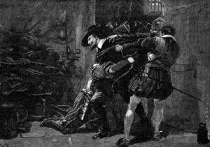 Prisão de Fawkes antes que ele explodisse o Parlamento com o rei dentro.